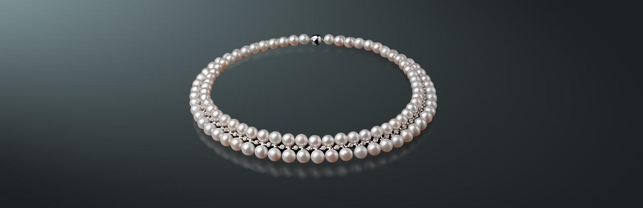 Ожерелье из жемчуга и золота, MAYSAKU-45: цена на белый пресноводный жемчуг, золото 585° - ювелирный интернет-магазин Maysaku в городе Санкт-Петербург